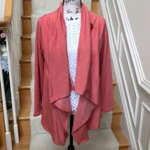 Bobeau one button fleece wrap cardigan